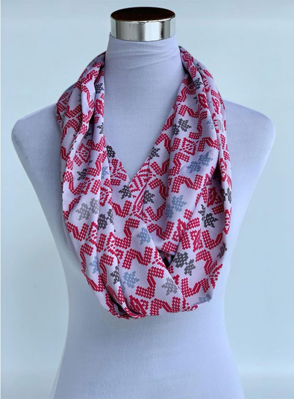 Changgih Infinity Scarf White-Red