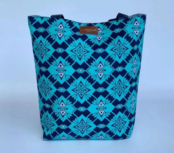 Changgih Blue Teal with Grey Tote Bag Back