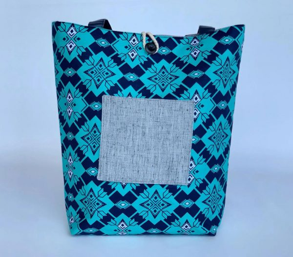 Changgih Blue Teal with Grey Tote Bag Front