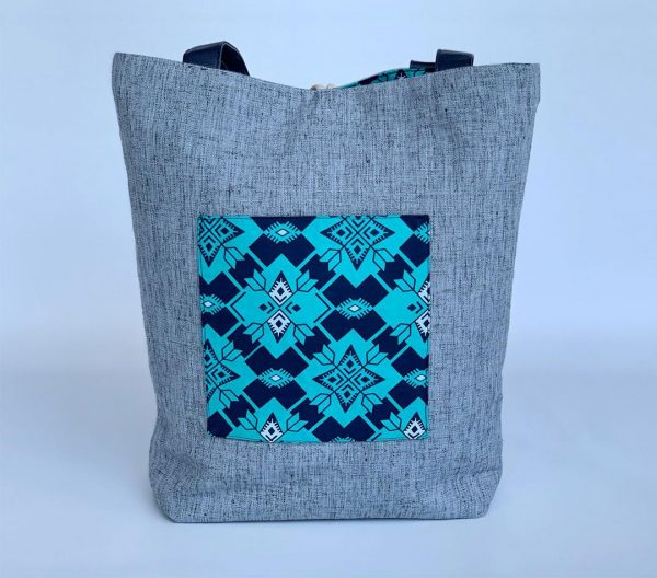 Changgih Grey with Blue Teal Tote Bag Front