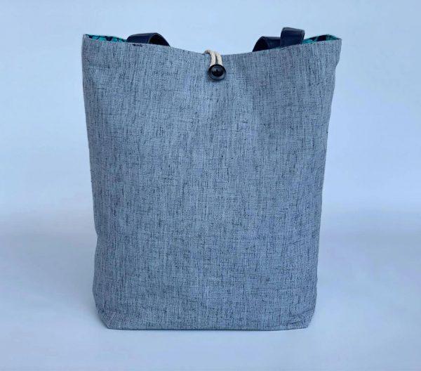 Changgih Grey with Blue Teal Tote Bag Back
